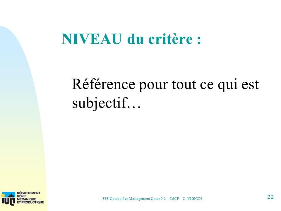 22 PPP Cours1/2 et Management Cours 0/2 – CdCF – C. VIGNON NIVEAU du critère : Référence pour tout ce qui est subjectif…