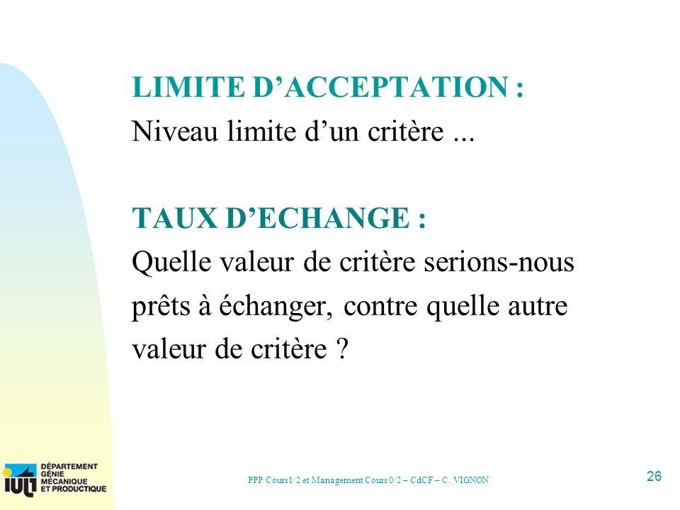 26 PPP Cours1/2 et Management Cours 0/2 – CdCF – C. VIGNON LIMITE DACCEPTATION : Niveau limite dun critère... TAUX DECHANGE : Quelle valeur de critère