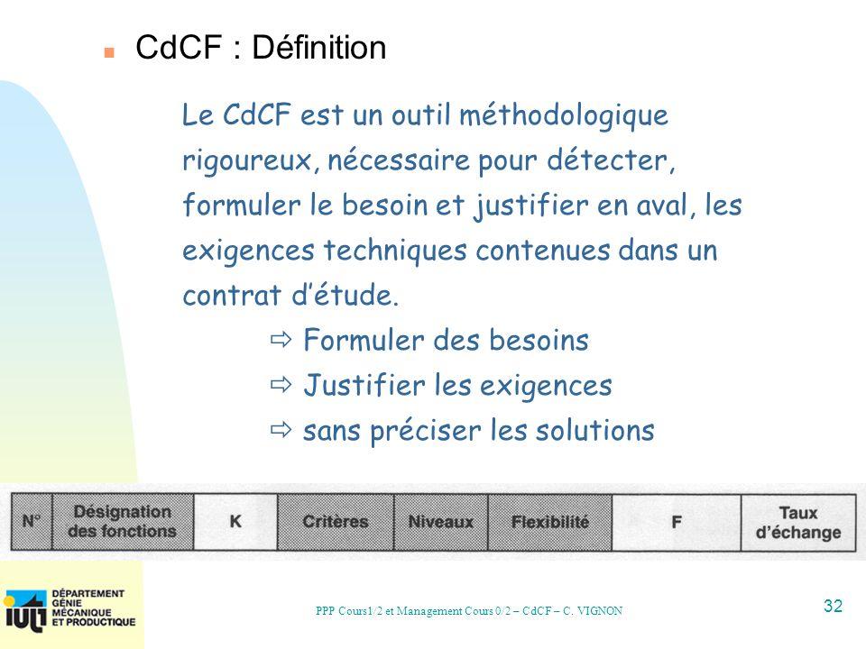 32 PPP Cours1/2 et Management Cours 0/2 – CdCF – C. VIGNON Le CdCF est un outil méthodologique rigoureux, nécessaire pour détecter, formuler le besoin