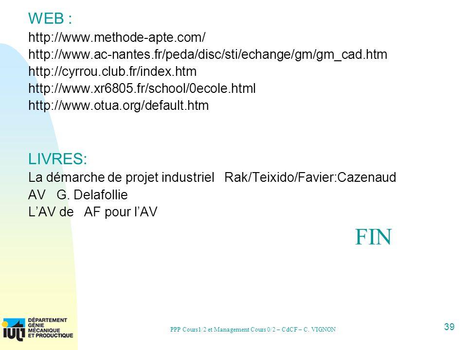 39 PPP Cours1/2 et Management Cours 0/2 – CdCF – C. VIGNON WEB : http://www.methode-apte.com/ http://www.ac-nantes.fr/peda/disc/sti/echange/gm/gm_cad.