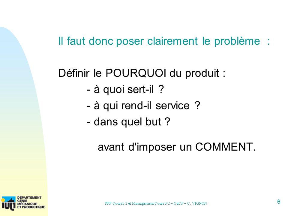 6 PPP Cours1/2 et Management Cours 0/2 – CdCF – C. VIGNON Il faut donc poser clairement le problème : Définir le POURQUOI du produit : - à quoi sert-i