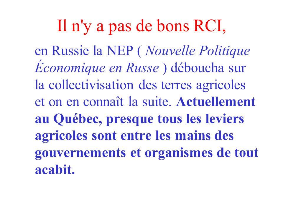 Il n y a pas de bons RCI, en Russie la NEP ( Nouvelle Politique Économique en Russe ) déboucha sur la collectivisation des terres agricoles et on en connaît la suite.