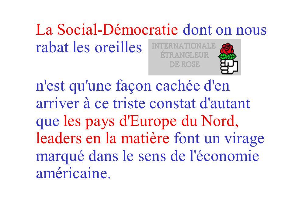 La Social-Démocratie dont on nous rabat les oreilles n est qu une façon cachée d en arriver à ce triste constat d autant que les pays d Europe du Nord, leaders en la matière font un virage marqué dans le sens de l économie américaine.
