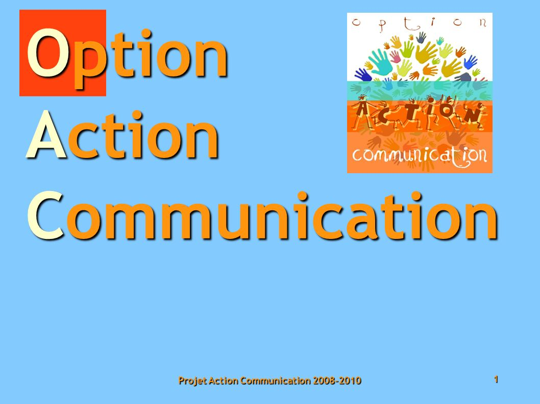1 Projet Action Communication 2008-2010 Option Action Communication