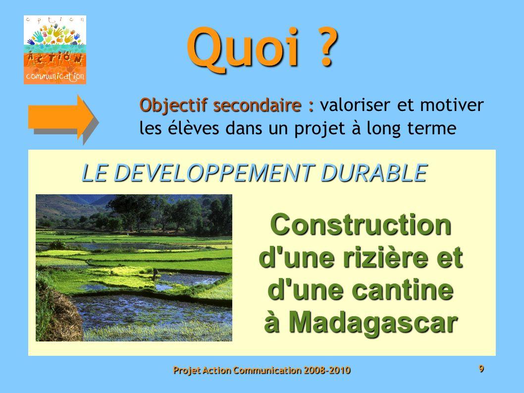 9 Projet Action Communication 2008-2010 Objectif secondaire : Objectif secondaire : valoriser et motiver les élèves dans un projet à long terme LE DEVELOPPEMENT DURABLE Quoi .
