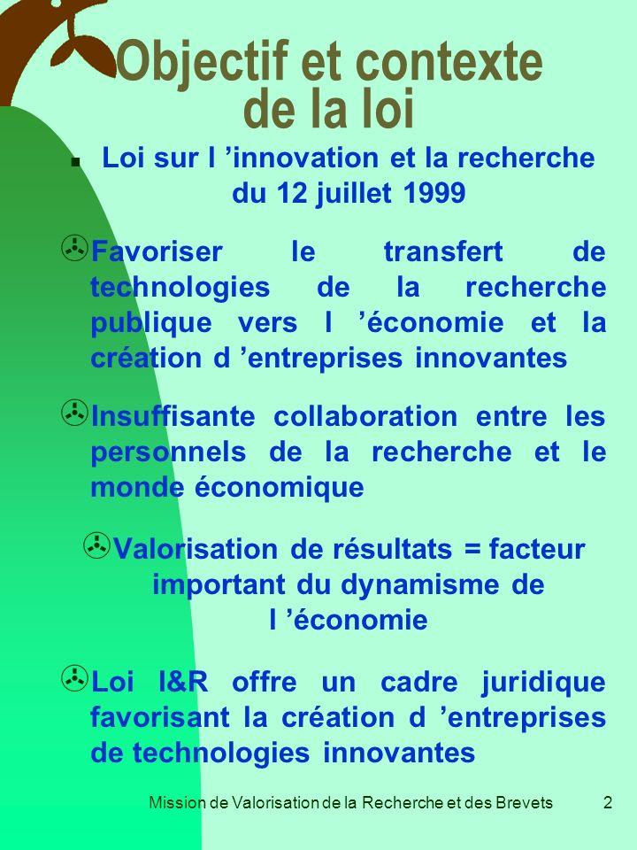 Mission de Valorisation de la Recherche et des Brevets1 Valorisation & Brevets La loi sur l Innovation et la Recherche