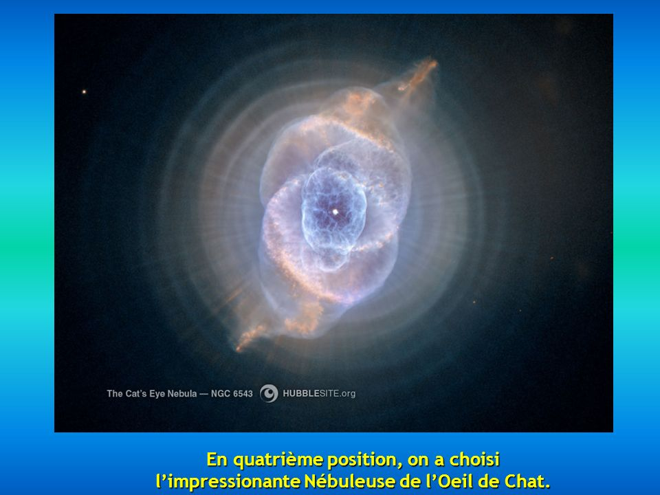 Ensuite nous apparaît la Nébuleuse de lEsquimau NGC 2392, située à 5000 années-lumière.