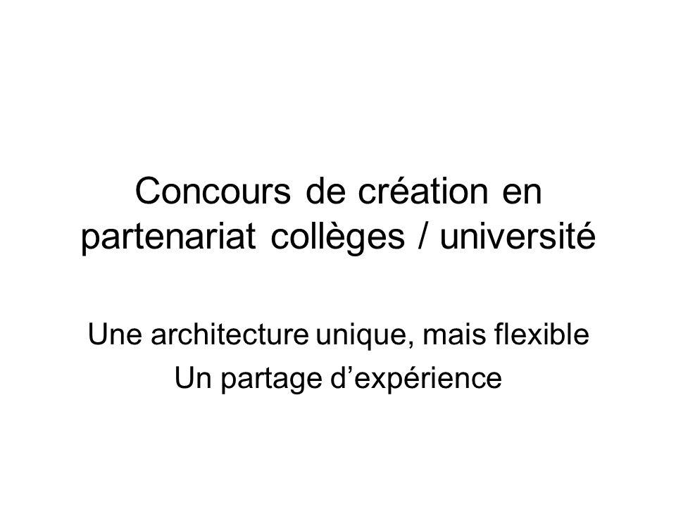 Concours de création en partenariat collèges / université Une architecture unique, mais flexible Un partage dexpérience