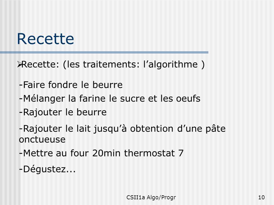 CSII1a Algo/Progr10 Recette Recette: (les traitements: lalgorithme ) -Faire fondre le beurre -Mélanger la farine le sucre et les oeufs -Rajouter le be
