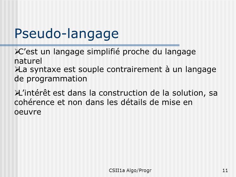 CSII1a Algo/Progr11 Pseudo-langage Cest un langage simplifié proche du langage naturel La syntaxe est souple contrairement à un langage de programmati