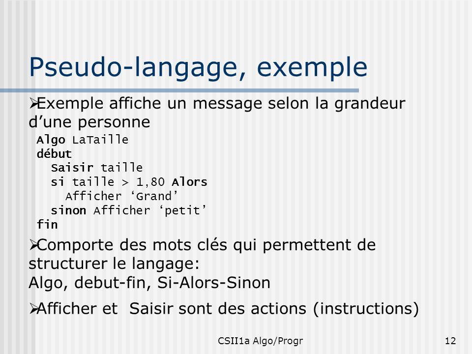 CSII1a Algo/Progr12 Pseudo-langage, exemple Exemple affiche un message selon la grandeur dune personne Algo LaTaille début Saisir taille si taille > 1