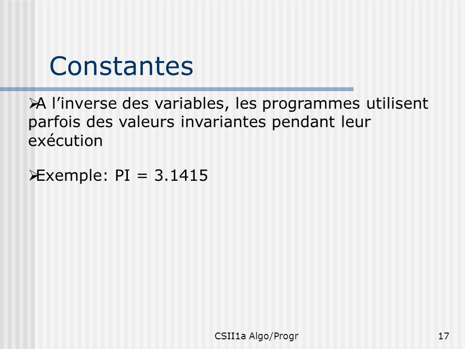 CSII1a Algo/Progr17 Constantes A linverse des variables, les programmes utilisent parfois des valeurs invariantes pendant leur exécution Exemple: PI =