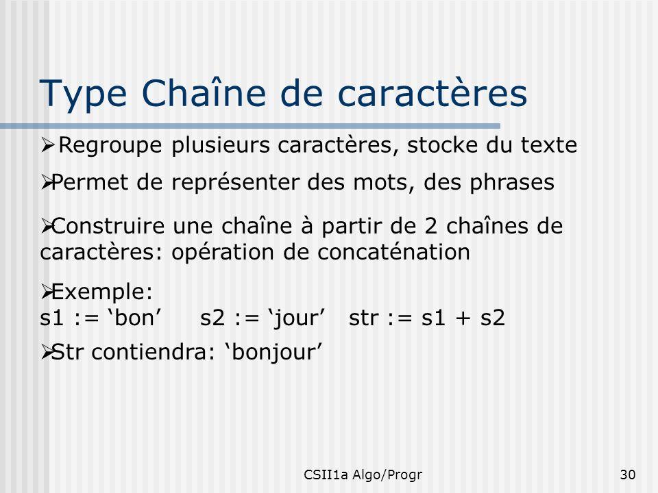 CSII1a Algo/Progr30 Type Chaîne de caractères Regroupe plusieurs caractères, stocke du texte Permet de représenter des mots, des phrases Construire un