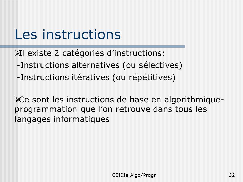 CSII1a Algo/Progr32 Les instructions -Instructions alternatives (ou sélectives) -Instructions itératives (ou répétitives) Ce sont les instructions de