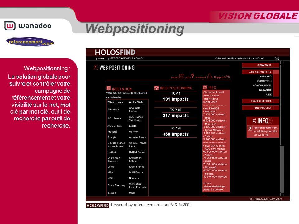 VISION GLOBALE Webpositioning Powered by referencement.com © & ® 2002 Webpositionning : La solution globale pour suivre et contrôler votre campagne de référencement et votre visibilité sur le net, mot clé par mot clé, outil de recherche par outil de recherche.
