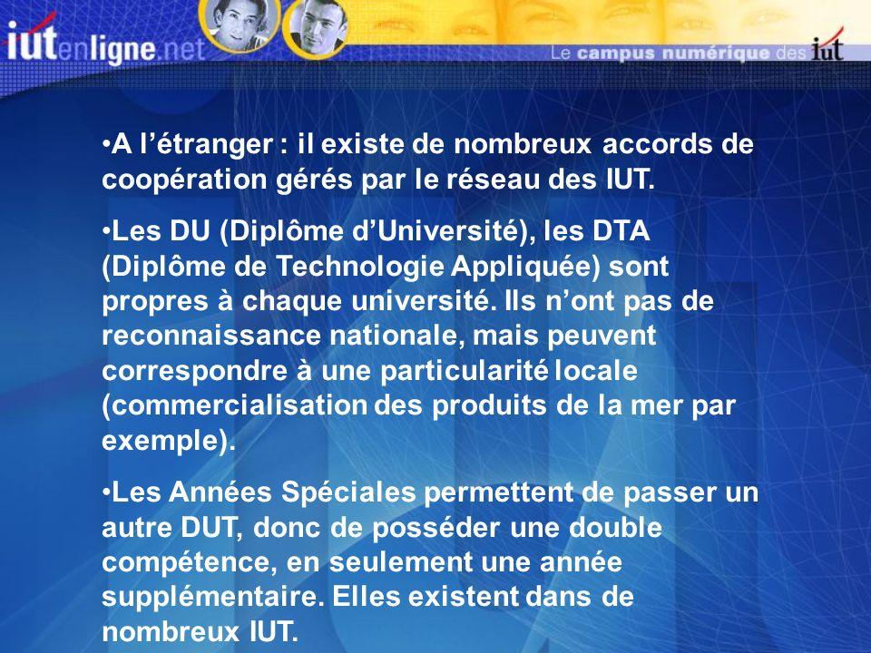 A létranger : il existe de nombreux accords de coopération gérés par le réseau des IUT. Les DU (Diplôme dUniversité), les DTA (Diplôme de Technologie