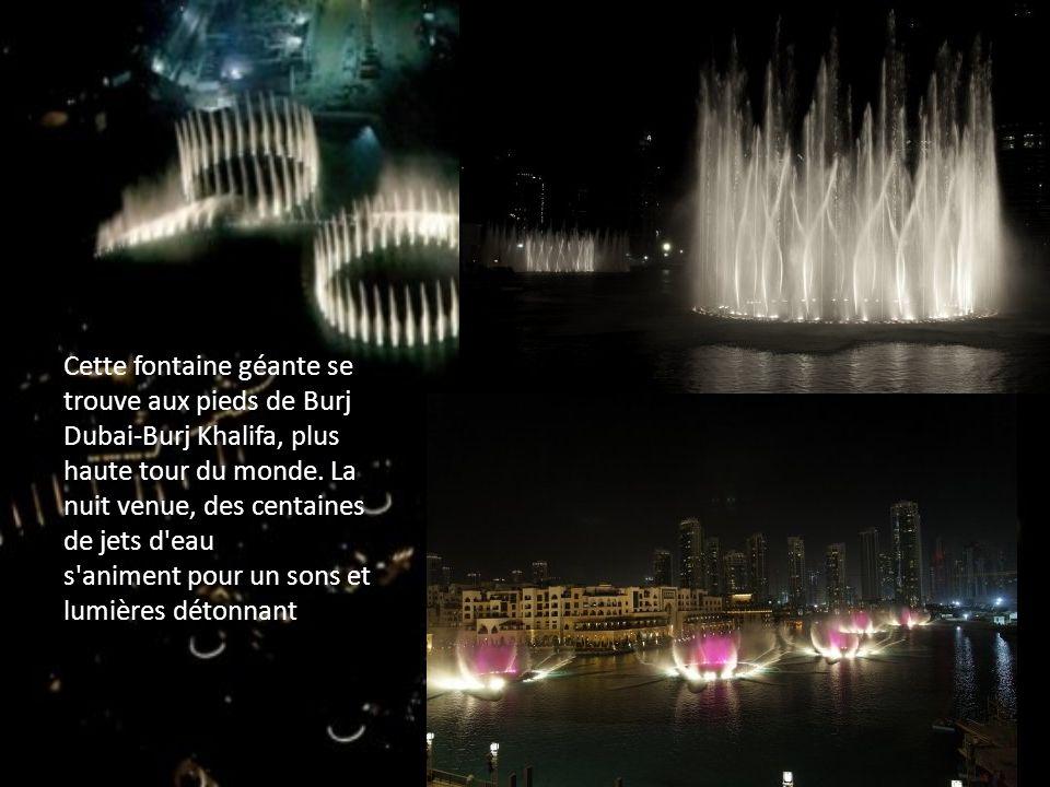 L installation comprend cinq anneaux de jets d eau, installés dans le lac artificiel de 13 hectares qui se trouve devant Burj Dubai.
