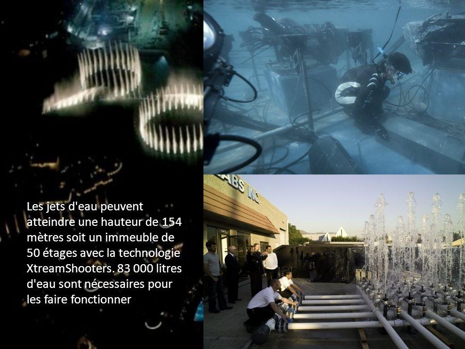 Les jets d'eau peuvent atteindre une hauteur de 154 mètres soit un immeuble de 50 étages avec la technologie XtreamShooters. 83 000 litres d'eau sont