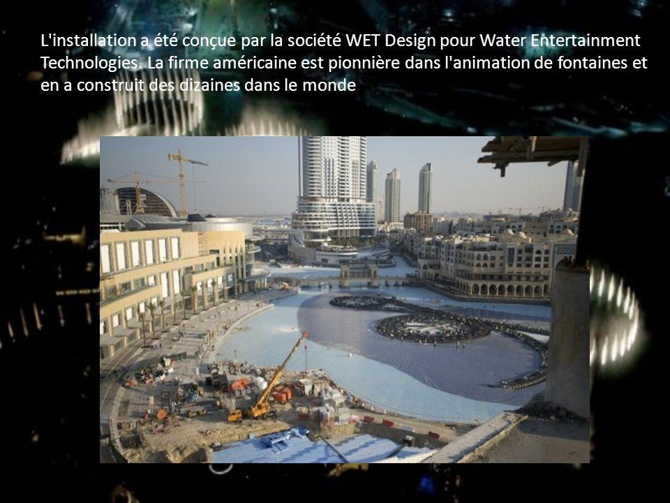 L'installation a été conçue par la société WET Design pour Water Entertainment Technologies. La firme américaine est pionnière dans l'animation de fon