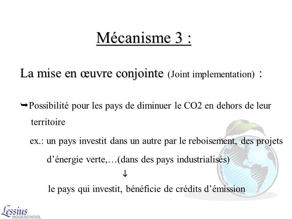 Mécanisme 2 : Acheter ou vendre des droits à émettre entre les pays Les permis démission Les permis démission :