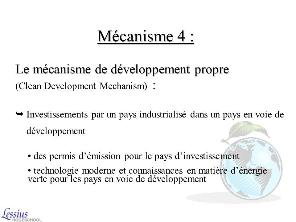 Mécanisme 3 : La mise en œuvre conjointe La mise en œuvre conjointe (Joint implementation) : Possibilité pour les pays de diminuer le CO2 en dehors de