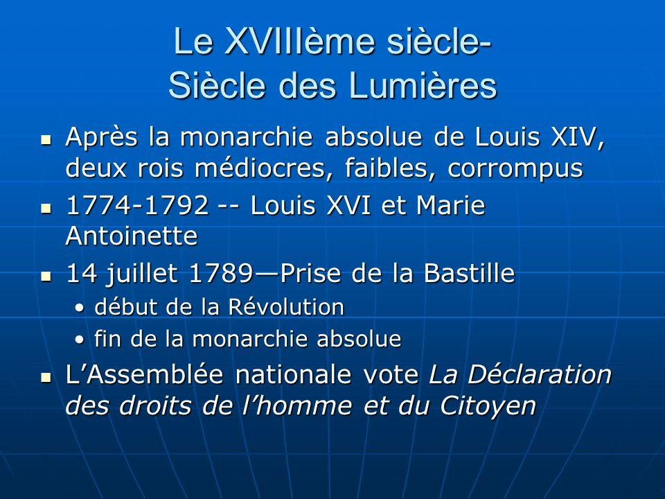 Le XVIIIème siècle- Siècle des Lumières Après la monarchie absolue de Louis XIV, deux rois médiocres, faibles, corrompus Après la monarchie absolue de