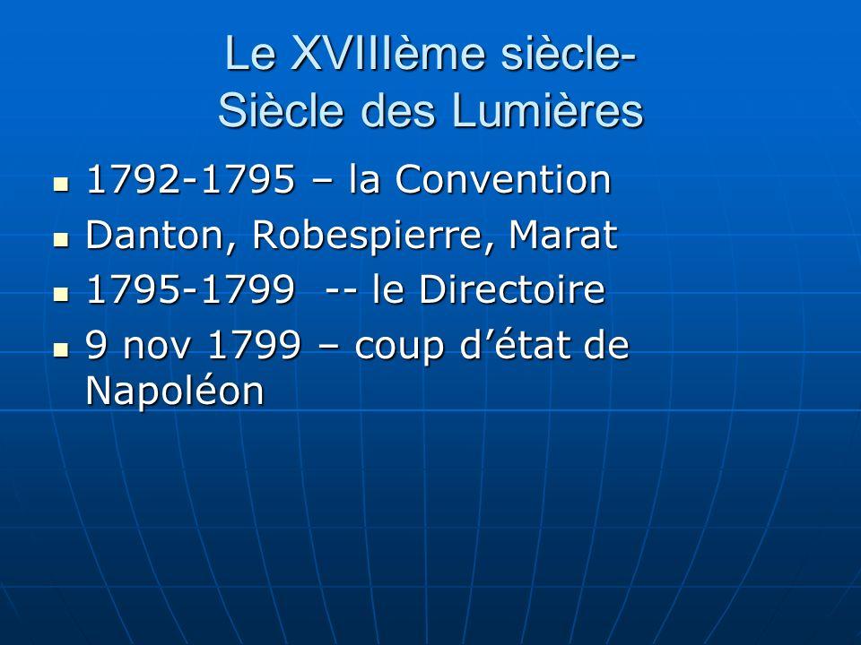 Le XVIIIème siècle- Siècle des Lumières 1792-1795 – la Convention 1792-1795 – la Convention Danton, Robespierre, Marat Danton, Robespierre, Marat 1795
