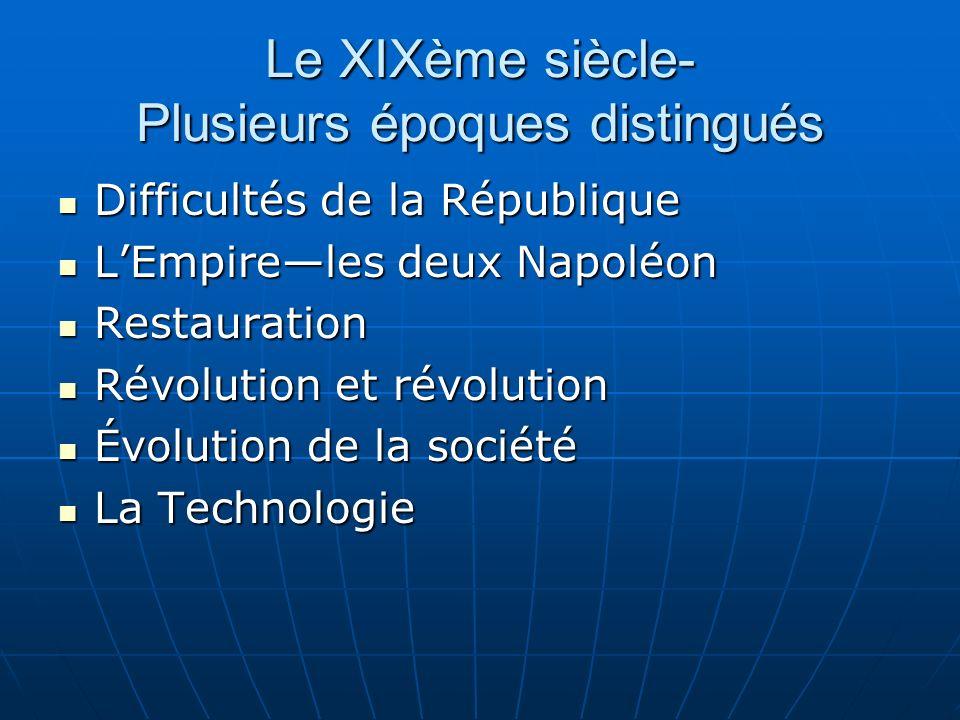Le XIXème siècle- Plusieurs époques distingués Difficultés de la République Difficultés de la République LEmpireles deux Napoléon LEmpireles deux Napo