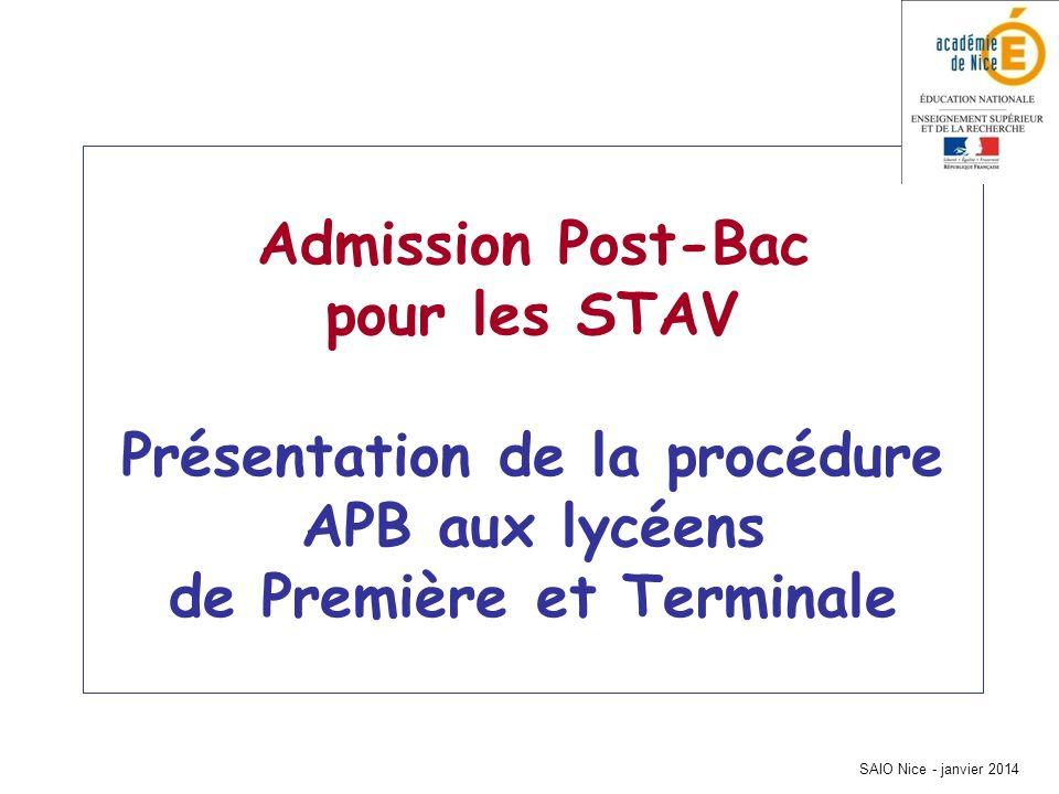 SAIO Nice - janvier 2014 Admission Post-Bac pour les STAV Présentation de la procédure APB aux lycéens de Première et Terminale