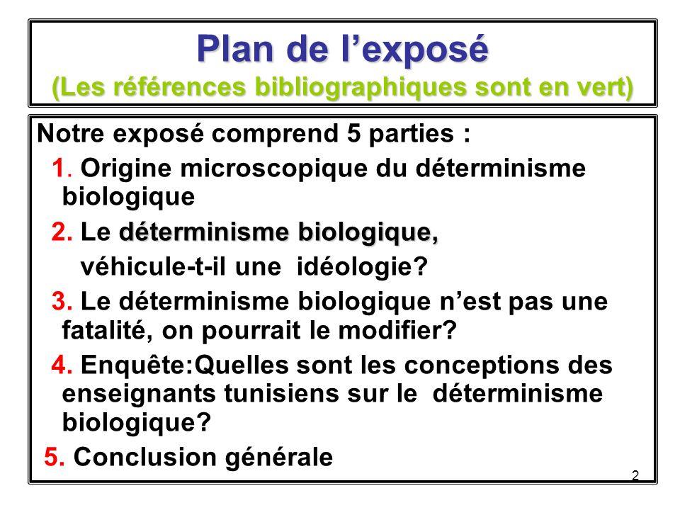 2 Plan de lexposé (Les références bibliographiques sont en vert) Notre exposé comprend 5 parties : 1.