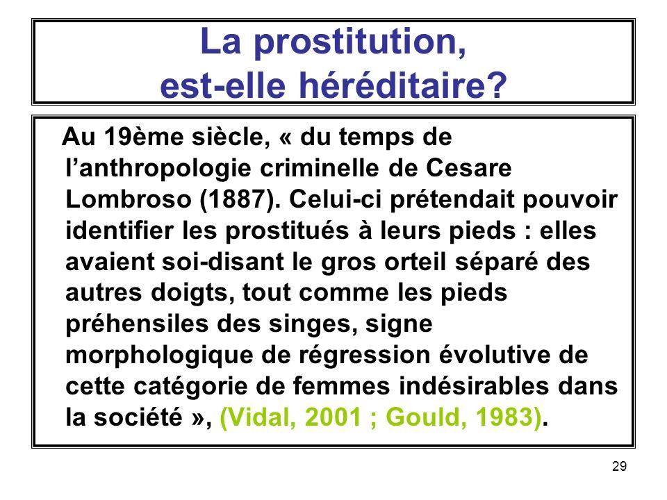 29 La prostitution, est-elle héréditaire.