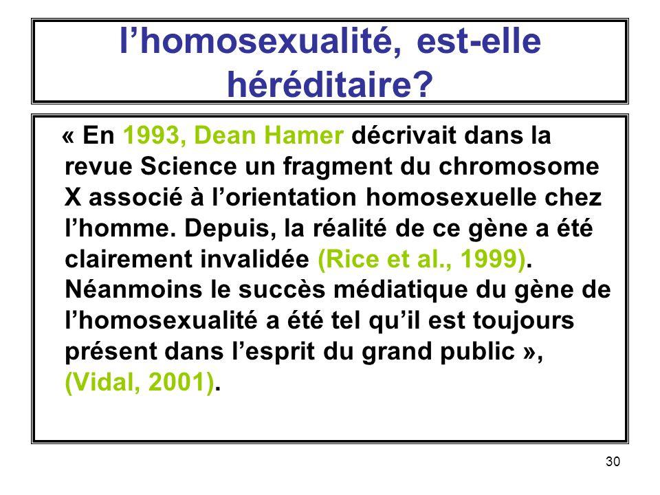 30 lhomosexualité, est-elle héréditaire.