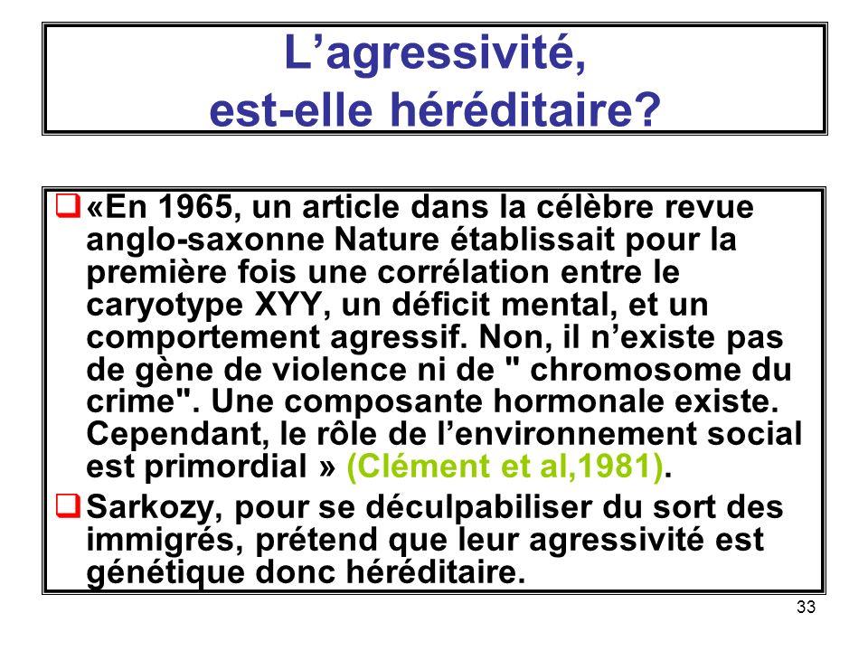 33 Lagressivité, est-elle héréditaire.