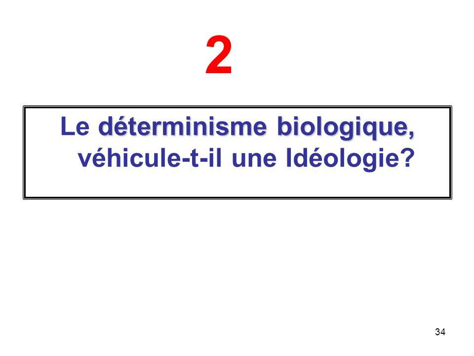 34 déterminisme biologique, Le déterminisme biologique, véhicule-t-il une Idéologie? 2