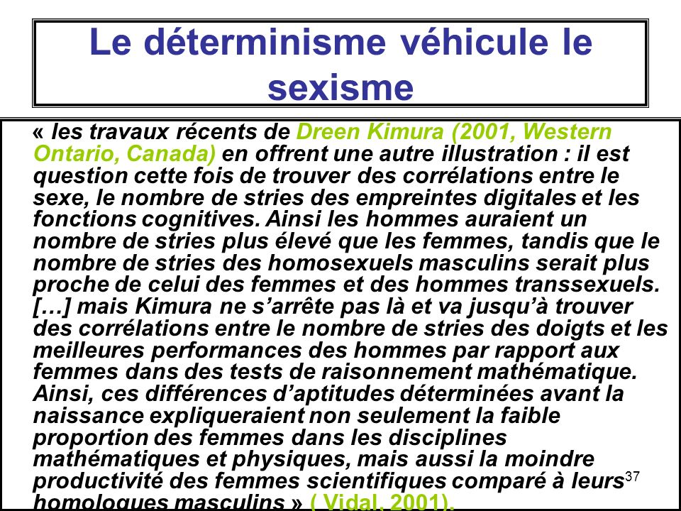 37 Le déterminisme véhicule le sexisme « les travaux récents de Dreen Kimura (2001, Western Ontario, Canada) en offrent une autre illustration : il est question cette fois de trouver des corrélations entre le sexe, le nombre de stries des empreintes digitales et les fonctions cognitives.