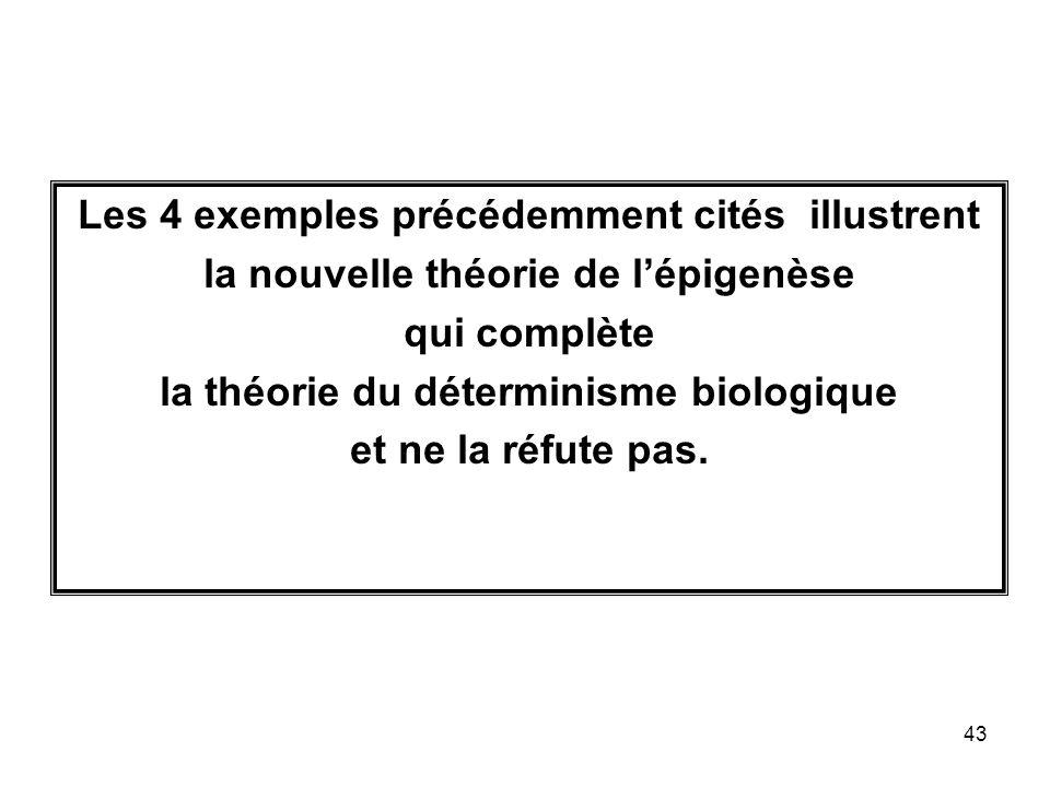 43 Les 4 exemples précédemment cités illustrent la nouvelle théorie de lépigenèse qui complète la théorie du déterminisme biologique et ne la réfute pas.