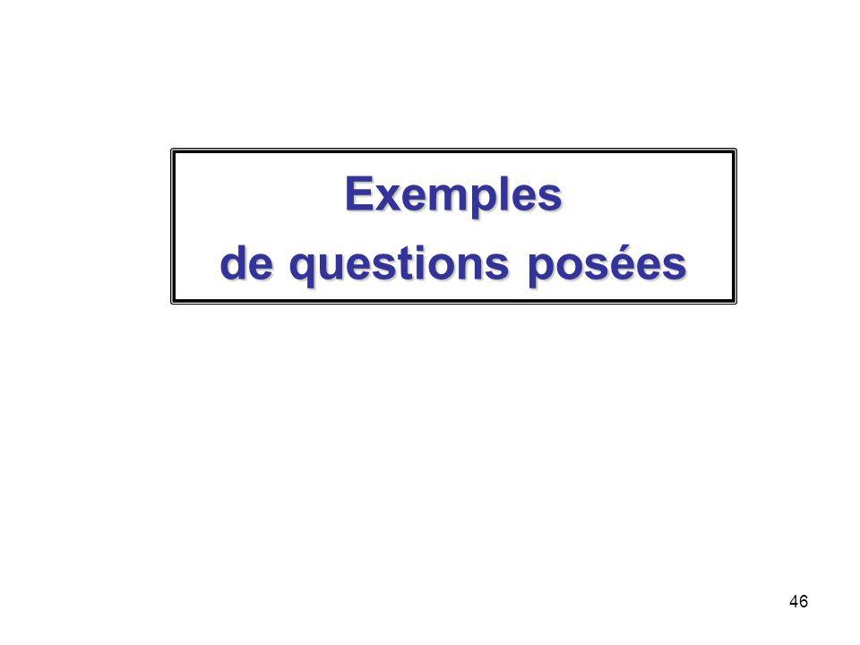 46 Exemples de questions posées