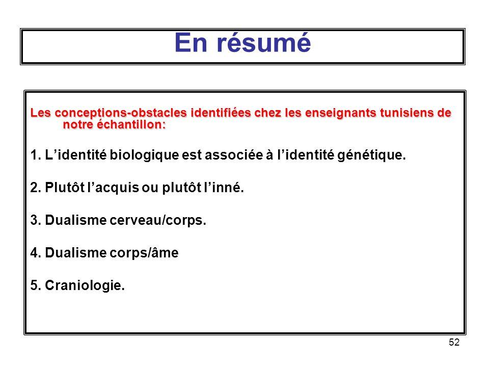 52 Les conceptions-obstacles identifiées chez les enseignants tunisiens de notre échantillon: 1.