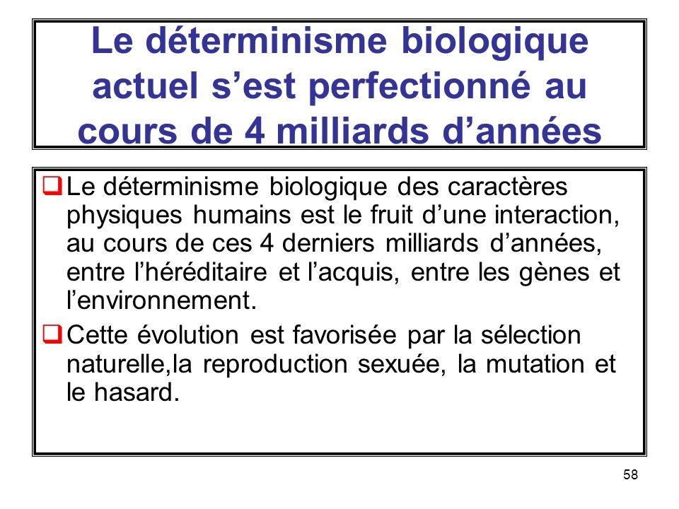 58 Le déterminisme biologique actuel sest perfectionné au cours de 4 milliards dannées Le déterminisme biologique des caractères physiques humains est le fruit dune interaction, au cours de ces 4 derniers milliards dannées, entre lhéréditaire et lacquis, entre les gènes et lenvironnement.