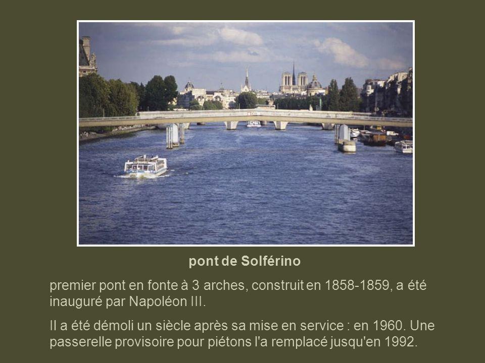 pont de la Concorde Le pont de la Concorde, quasiment désert au début du 20ème siècle, est aujourd'hui celui qui supporte le plus de trafic. Il a été