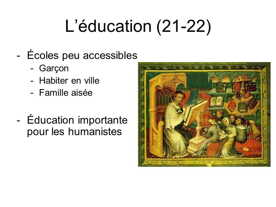 Léducation (21-22) -Écoles peu accessibles -Garçon -Habiter en ville -Famille aisée -Éducation importante pour les humanistes
