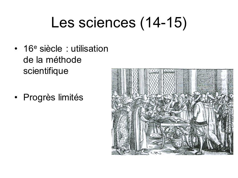 Les sciences(16-17) Meilleures connaissances en médecine Nouvelles inventions: –Lunette astronomique(1609) –Thermomètre(1640) –Machine à calculer(1644) –Microscope(1660)