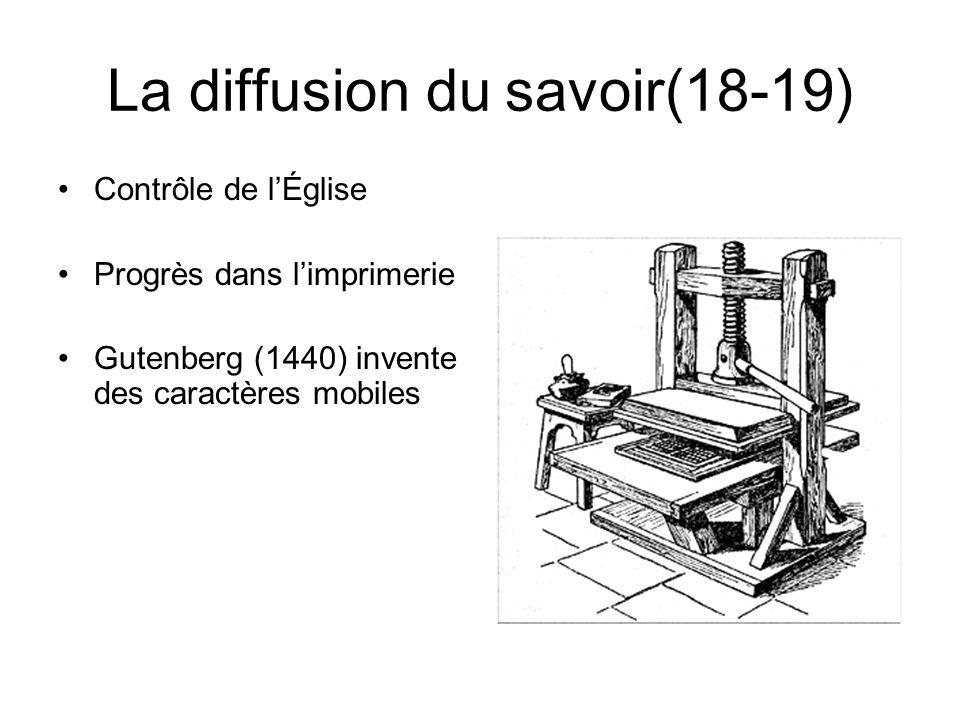 La diffusion du savoir(18-19) Contrôle de lÉglise Progrès dans limprimerie Gutenberg (1440) invente des caractères mobiles
