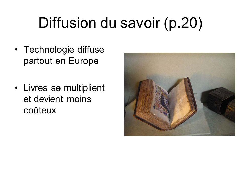 Diffusion du savoir (p.20) Technologie diffuse partout en Europe Livres se multiplient et devient moins coûteux