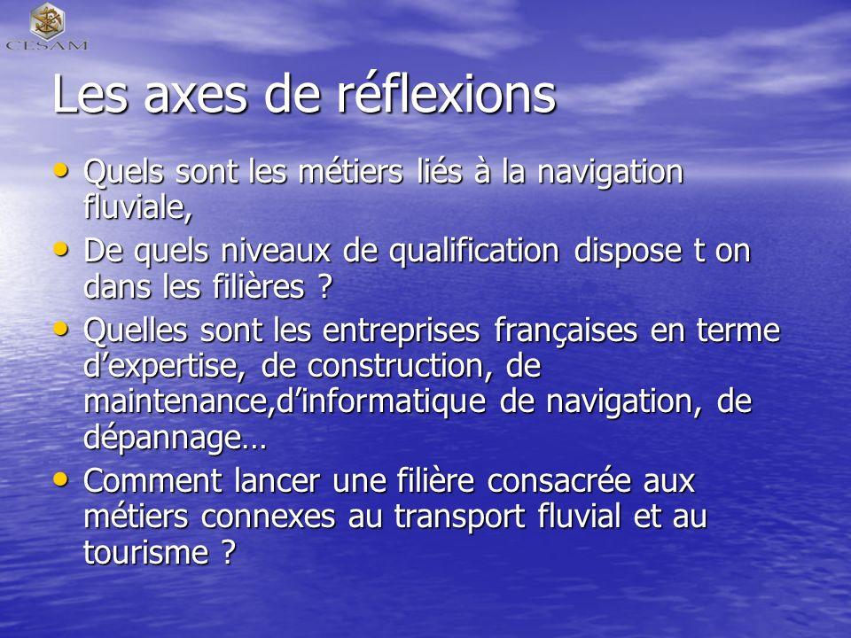 Les axes de réflexions Quels sont les métiers liés à la navigation fluviale, Quels sont les métiers liés à la navigation fluviale, De quels niveaux de qualification dispose t on dans les filières .