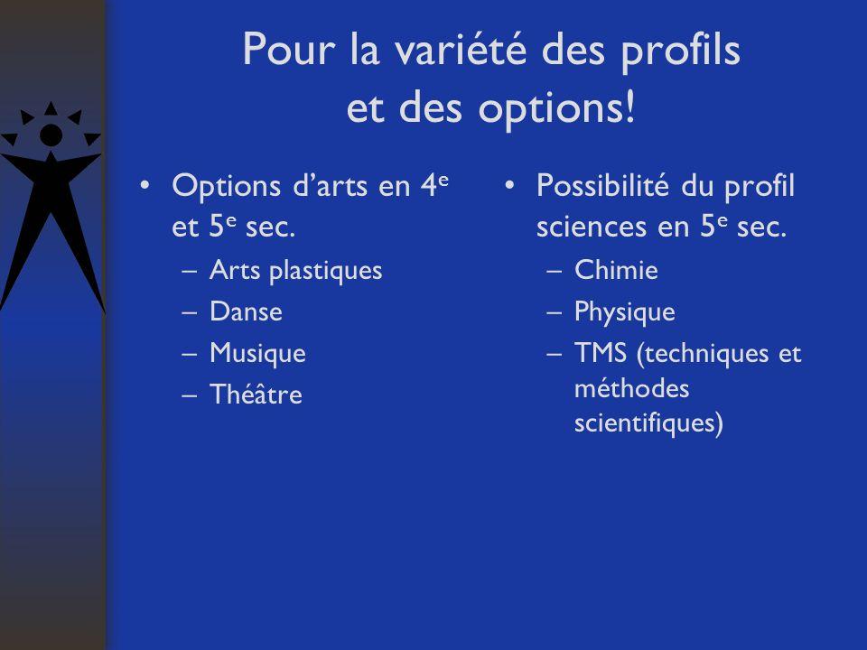 Pour la variété des profils et des options! Options darts en 4 e et 5 e sec. –Arts plastiques –Danse –Musique –Théâtre Possibilité du profil sciences