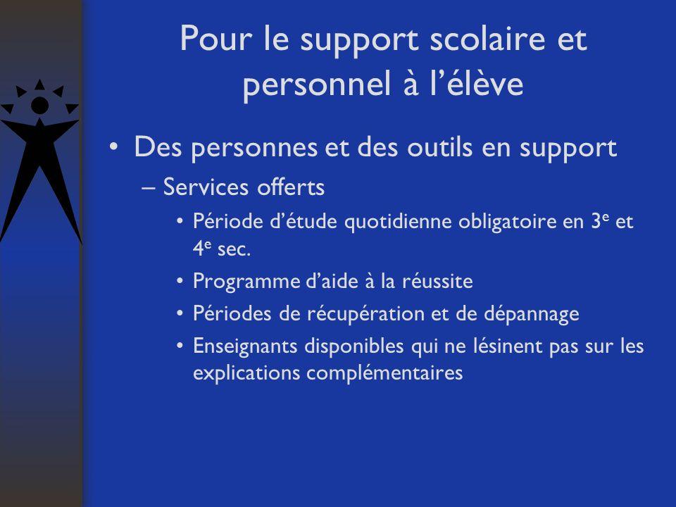 Pour le support scolaire et personnel à lélève Des personnes et des outils en support –Services offerts Période détude quotidienne obligatoire en 3 e et 4 e sec.