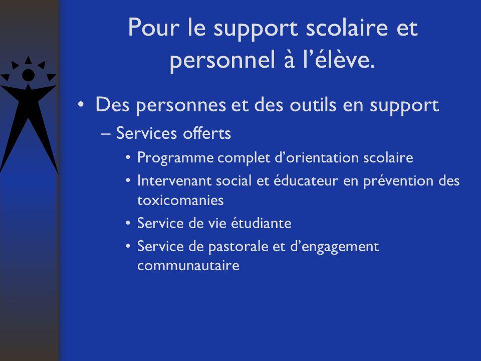 Pour le support scolaire et personnel à lélève. Des personnes et des outils en support –Services offerts Programme complet dorientation scolaire Inter