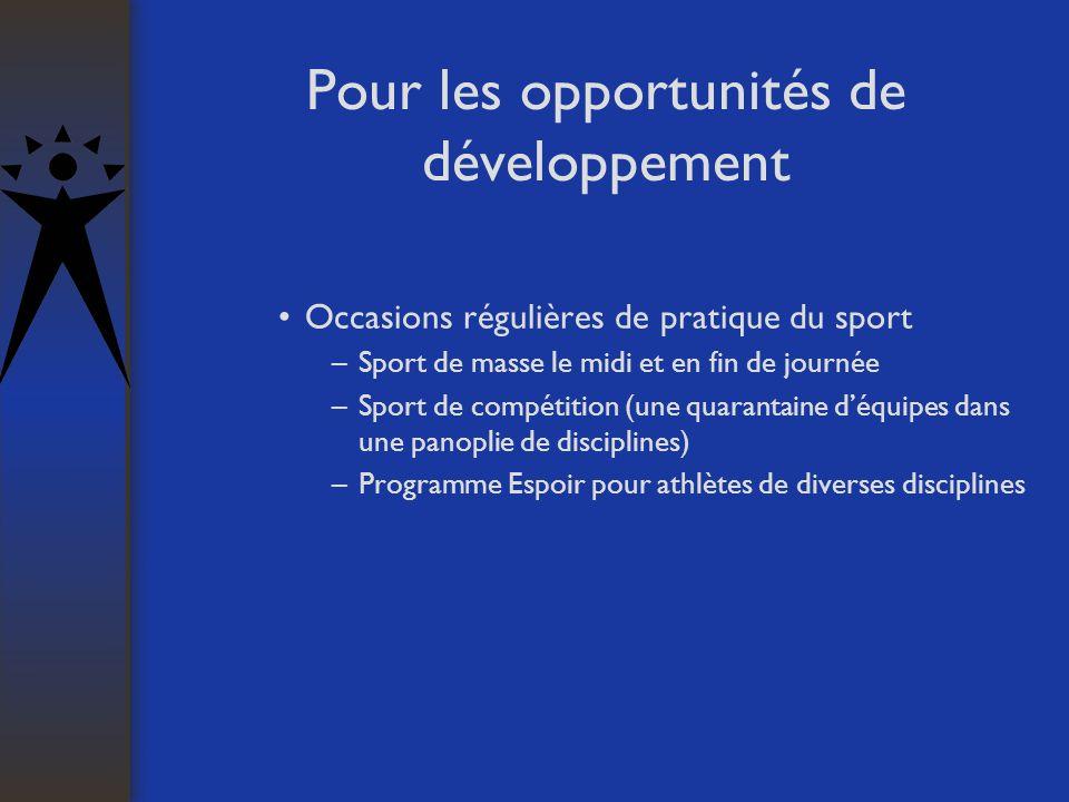 Pour les opportunités de développement Occasions régulières de pratique du sport –Sport de masse le midi et en fin de journée –Sport de compétition (une quarantaine déquipes dans une panoplie de disciplines) –Programme Espoir pour athlètes de diverses disciplines