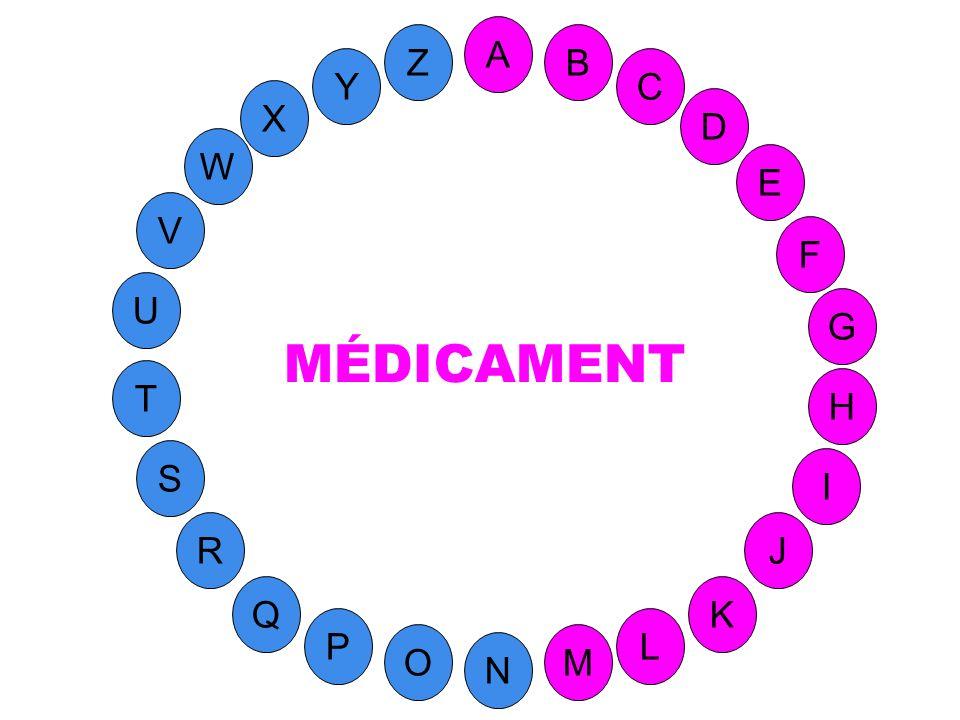 M A G S C U H W Y I F D B L K J T R Q P O N E V Z Substance active employée pour prévenir ou traiter une affection.